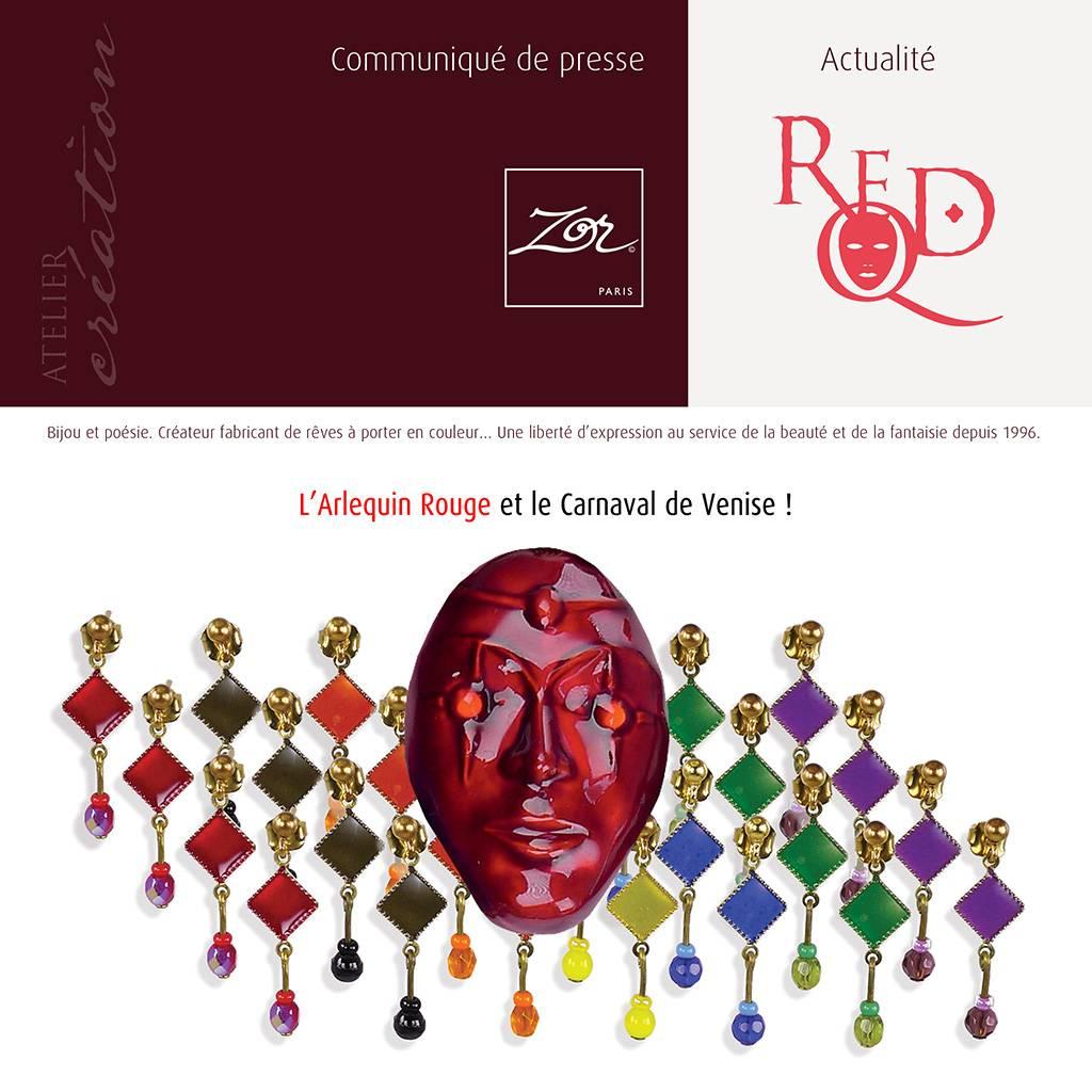 Arlequin Rouge, de Masque et de Chromes, bijou licence TRH Jewel design. Couleur symbole Jaune, Vert, Noir, Bleu, Violet, Orange. Création Zor paris