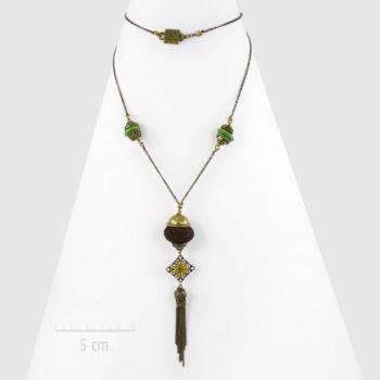 Sautoir bohème à pendentif perle grigri sur chaîne fine. Style: long collier oriental rétro et baroque. UNE IDÉE de cadeau symbolique avec optionbébé Bola. Création ZOR