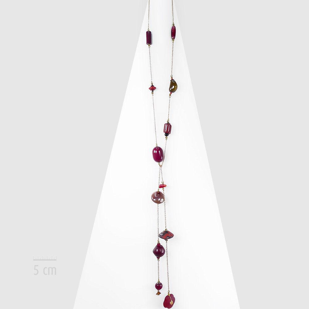 Collier long, sautoir bohème, élégance baroque, nomade et perle vintage. Sensualité orientale, chic Tzigane! Pierres fine, corail rouge agate. Création ZOR