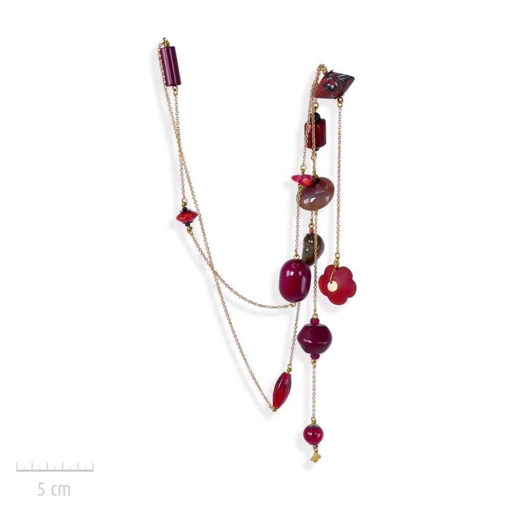 Collier sautoir bohème, élégance baroque, nomade et perle vintage. Sensualité orientale, chic Tzigane! Pierres fine, corail agate, rouge passion. Création ZOR