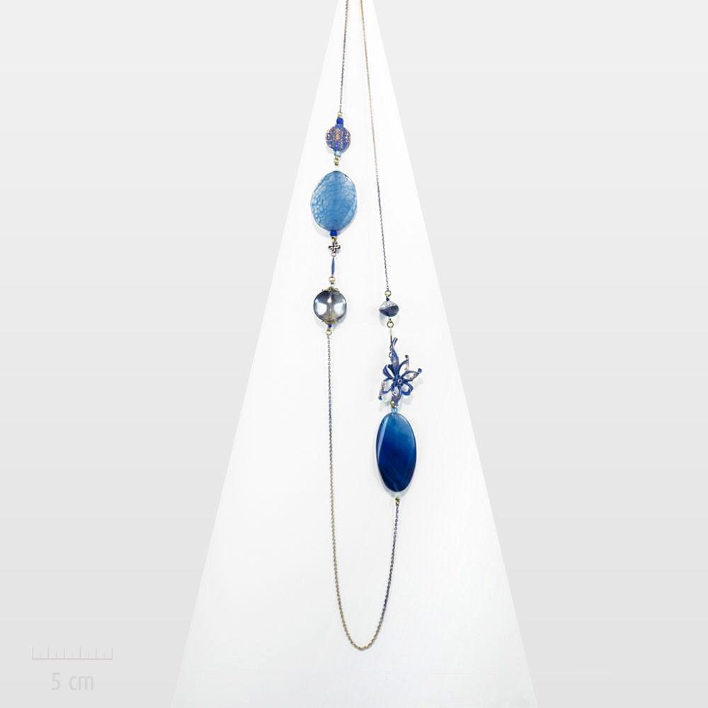 Bijou romantique, nature zen: sautoir fleurs étoile, gentiane bleue.Collier long, vintage et pierre fine d'agate. Parure céleste.Création Zor Paris