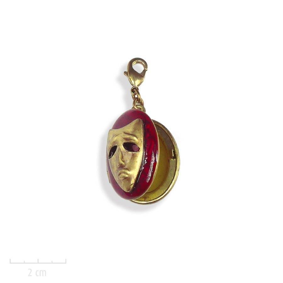 Médaillon masque, pendentif à photo. IDÉE cadeau tous âges et styles. Symbole du Carnaval de Venise. Bijou trésor de l'Arlequin Rouge. Zor création Paris