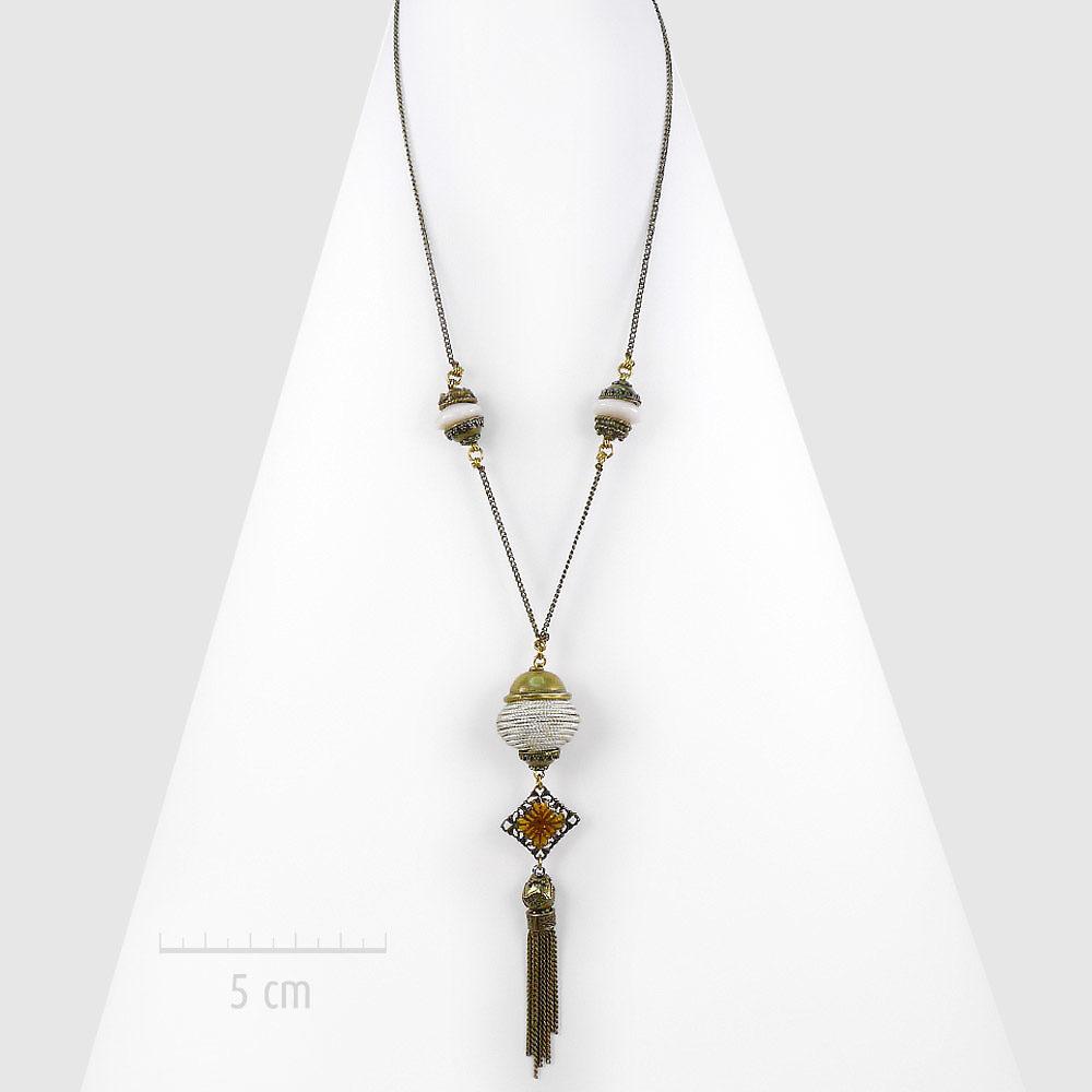 Sautoir bohème à pendentif perle grigri sur chaîne fine. Style: long collier oriental rétro baroque beige. UNE IDÉE de cadeau symbolique: bébé Bola. Création ZOR