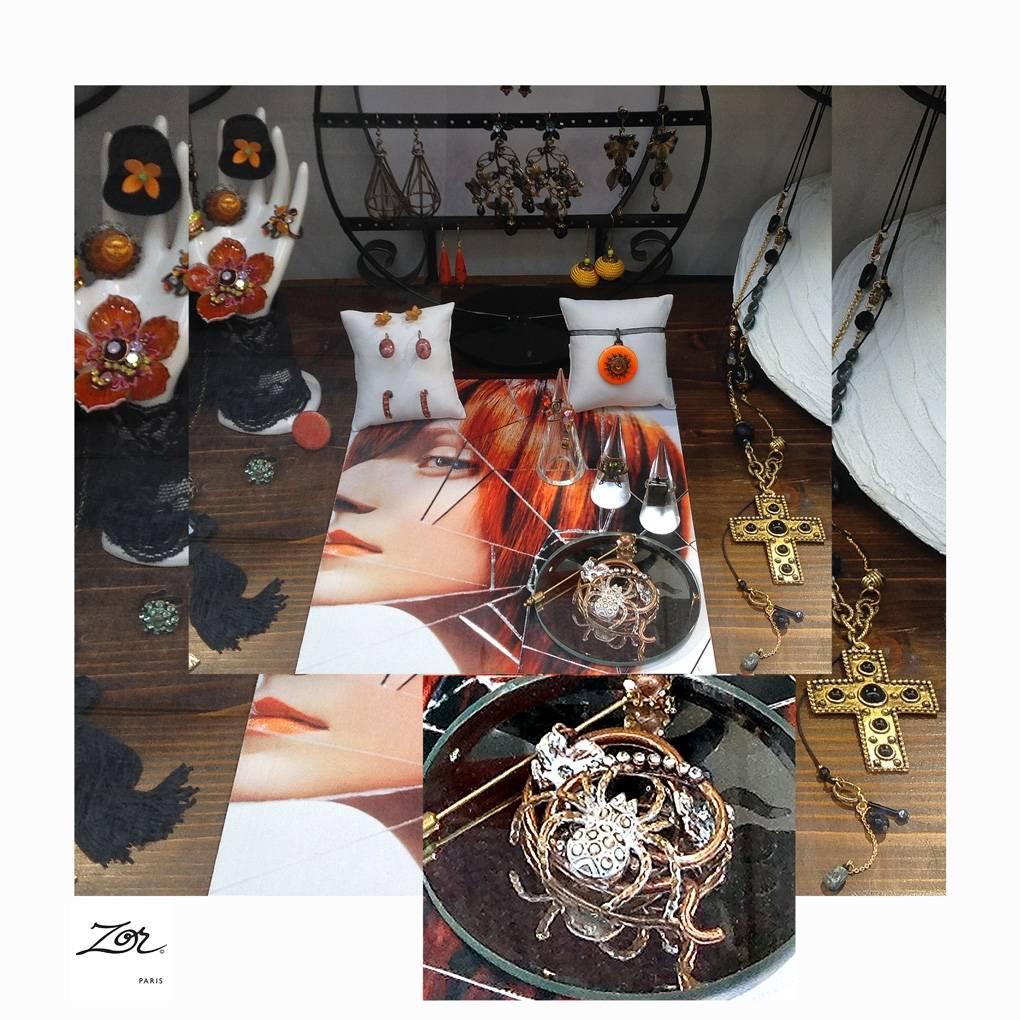 Spécial halloween bijoux à paris. Atelier Zor, artisan parurier, humour et fantaisie. Broche mygale, superstition orange et noir haut de gamme