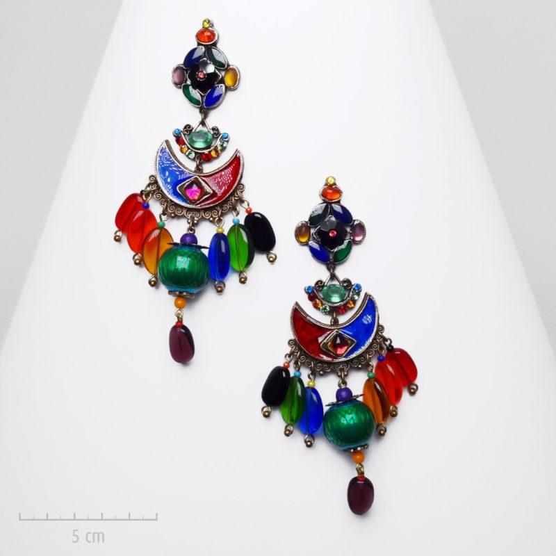 Très grandes boucles d'oreilles haut de gamme clip multicolore haut de gamme L'Arlequin Rouge en hommage à l'exubérance du Carnaval de Venise.SYMBOLE de paix.Création Zor Paris