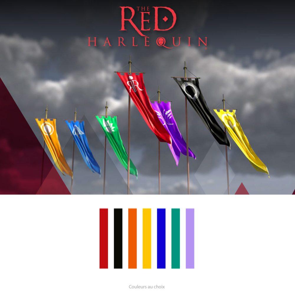 Bijou HOMME, barre rectangle, symbole de drapeau de l'Arlequin Rouge, roman fantastique TRH. Couleur orange, jaune, vert, noir, bleu, violet. Création Zor