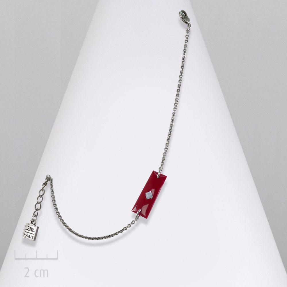 Bijou ENFANT rectangle, bracelet gourmette chaîne fine argent. Drapeau symbole de l'Arlequin rouge. CONCEPT fille et garçon ado. Création Zor