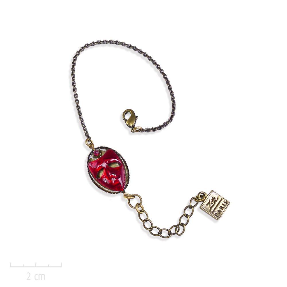 Bijou ENFANT masque carnaval, bracelet gourmette chaîne fine bronze vintage. Symbole de l'Arlequin rouge de Roberto Ricci. Création fille et ado, Zor