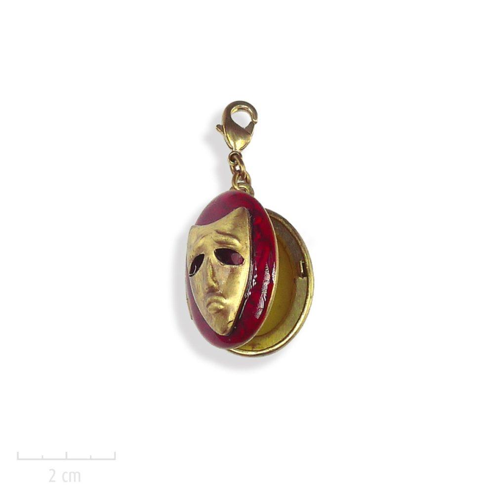 Bijou ENFANT, médaillon pour photo, masque carnaval de la nouvelle fantastique l'Arlequin Rouge. Bijou vintage âge 3, 8, 12ans, ados. Création Zor