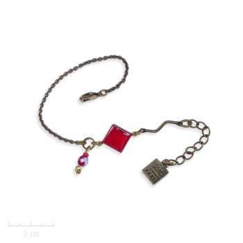 Bracelet Arlequin Rouge, gourmette à chaîne et losange symbole des TRH. Bijou fantaisie Zor