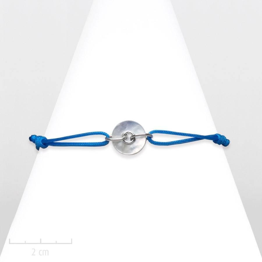 Bijou Moderne bleu turquoise, argent, nacre nature et corde. Bracelet fantaisie à lacet marin. Création Zor Paris