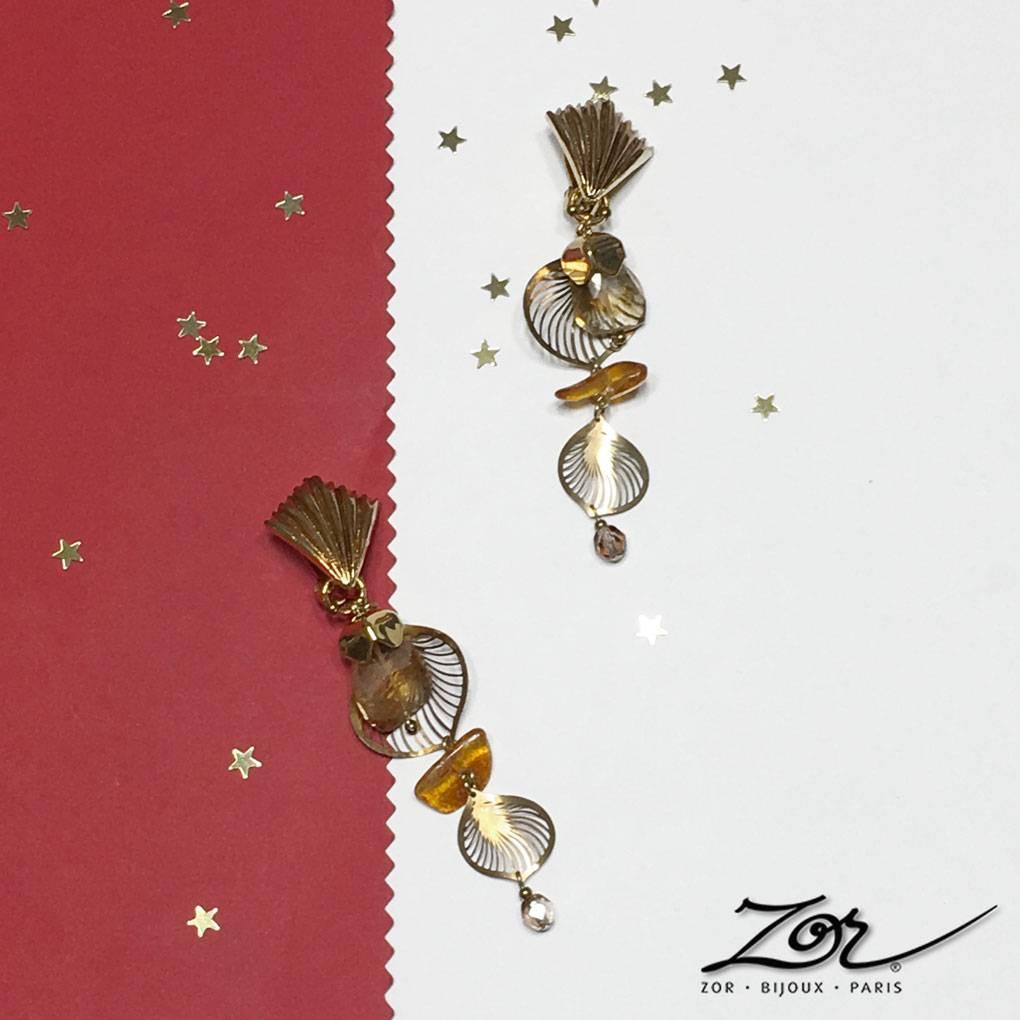 Grande boucle d'oreille clip, ambre et citrine, pour le célèbre évènement cinéma: Palme d'Or, Festival de Cannes. Création-Bijoux-Paris