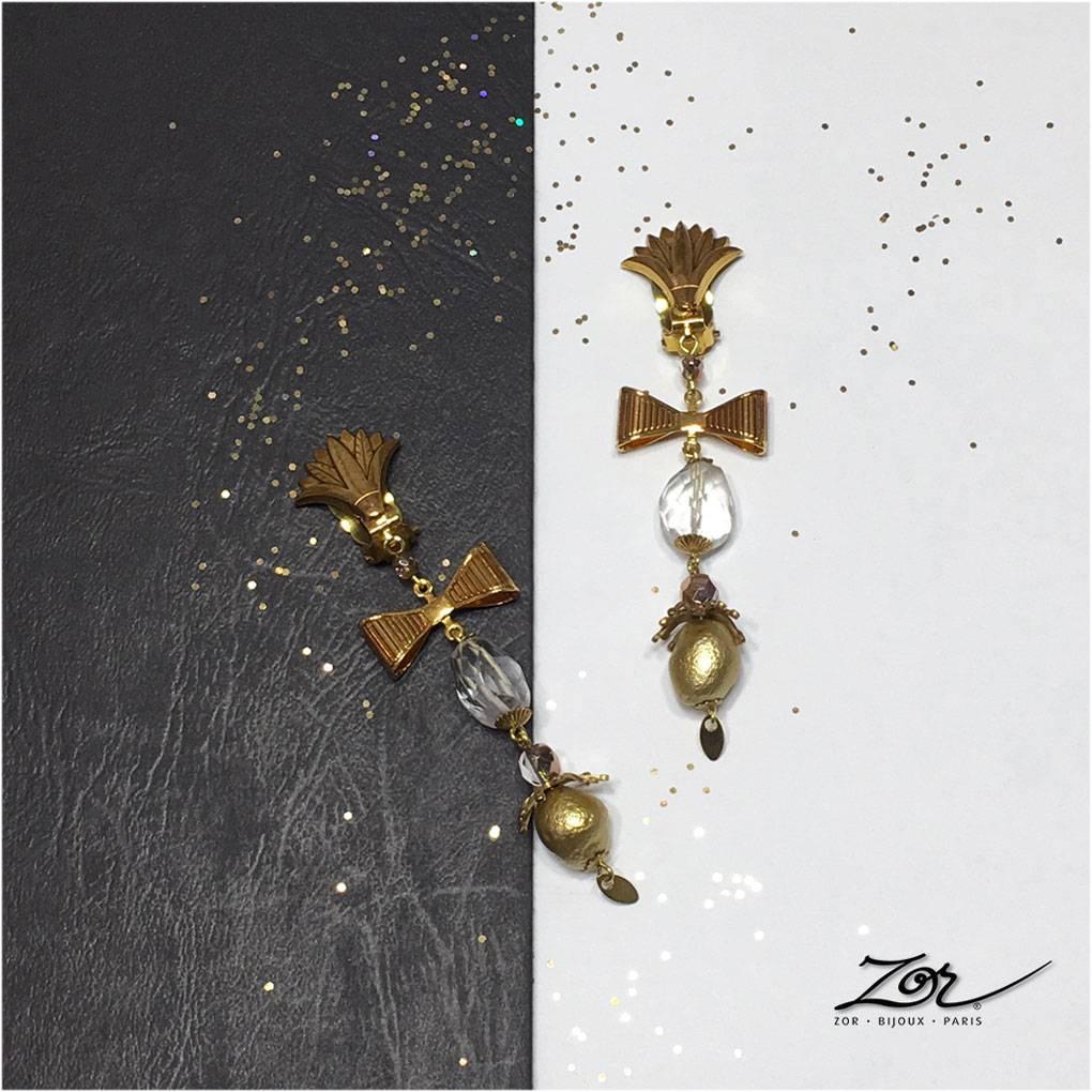 Boucles d'oreilles à clip, bijou spécial Palme d'or du festival de Cannes. Zor fait son cinéma! Création de parures pour évènements à Paris Sentier