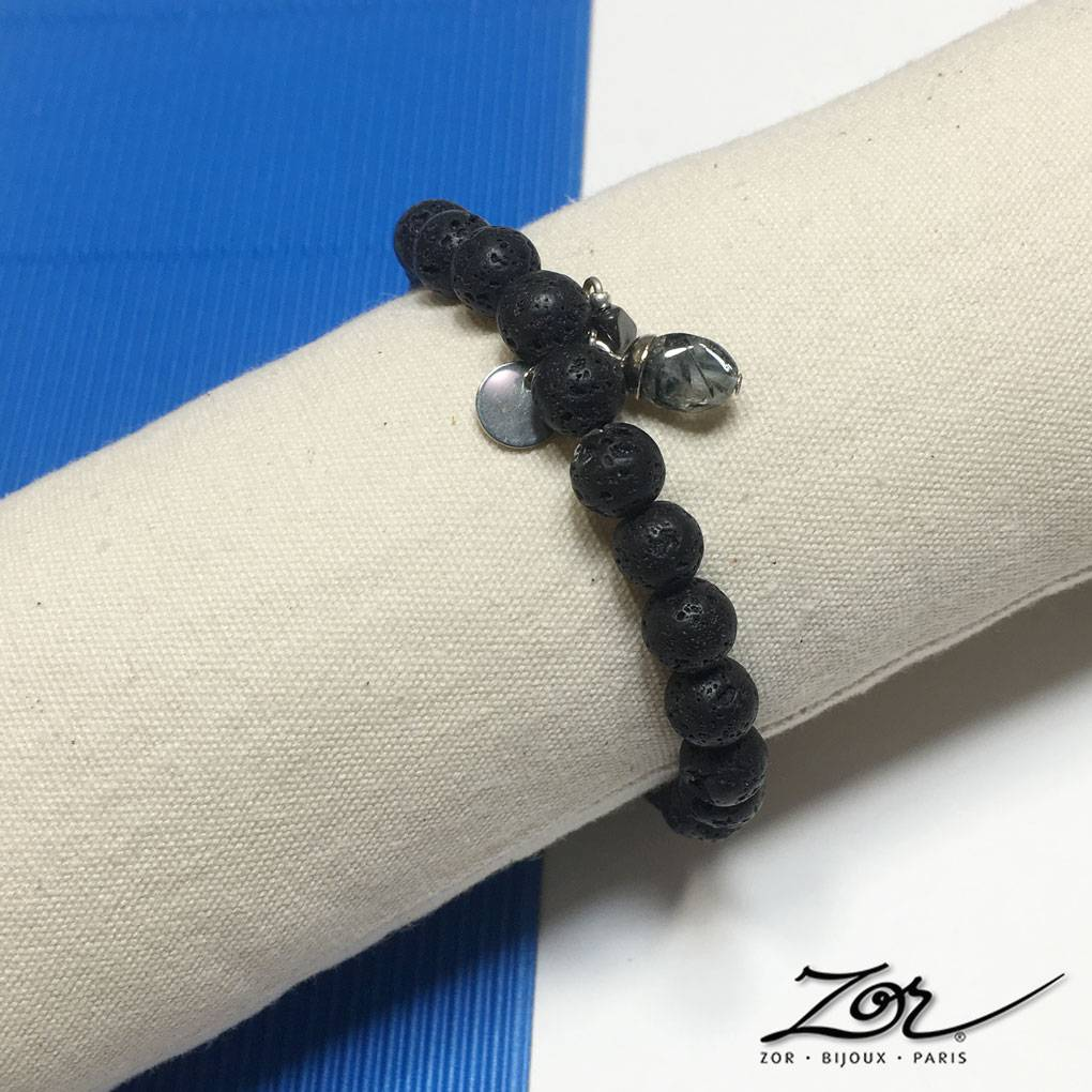 Bracelet homme en perle de lave noire, argent, acier et pierre fine. Bijoux spécial fête des père. Masculin et authentique par les créations Zor Paris