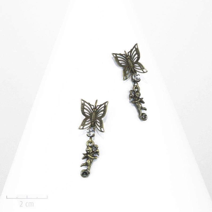 Boucle d'oreille Enfant, dormeuse percée. Cupidons ludiques et pendants. Petits anges amours et papillons symboles de l'âme. Bronze, création Sébicotane, Zor Paris