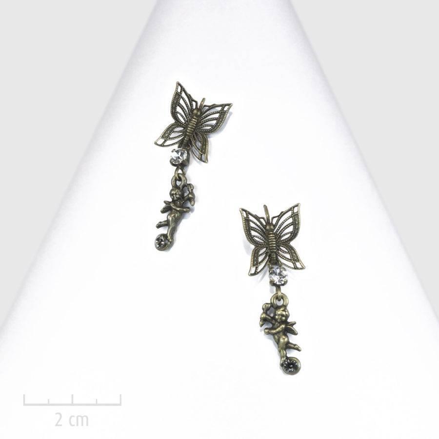 Boucle d'oreille dormeuse percée et strass. Petit ange ludique pendant, amour et papillon symbole de l'âme. Bronze, création Bijou Zor Paris