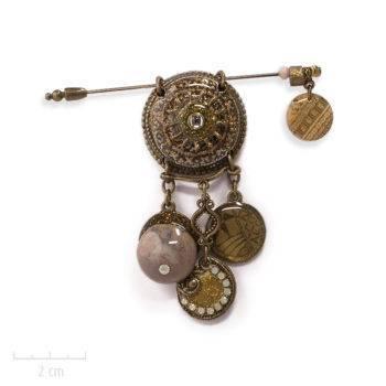 Pic broche et pendentif ethnique. Bijou topaze, talisman africain, pierre fine agate. Création fantaisie. Zor Paris 2
