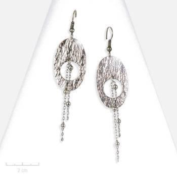Boucle d'oreille Moderne longue comète au design ovale. Bijou argent symbole astral, lumière céleste. Zor création Paris