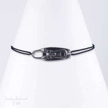Bracelet moderne cordon à nœud. Bijou zip argent sur lacet. style steampunk et rock. Création Zor fantaisie Paris