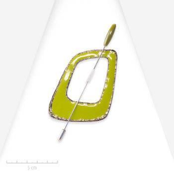 Broche pendentif moderne et géométrique. Grand bijou pic carré, argent et vert, une palette cubiste en hommage à Picasso. Création et fantaisie Zor Paris