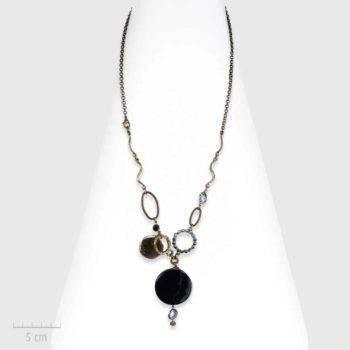 Collier Ethnique, sautoir noir habillé de pierre d'agate et de quartz. Précieux symbole en lithothérapie. Création Zor Paris
