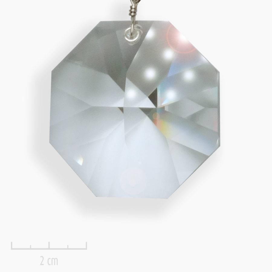 Sautoir moderne, talisman à grand cristal Swarovski sur chaîne argent. Bijou au pendentif ésotérique, créateur français Zor
