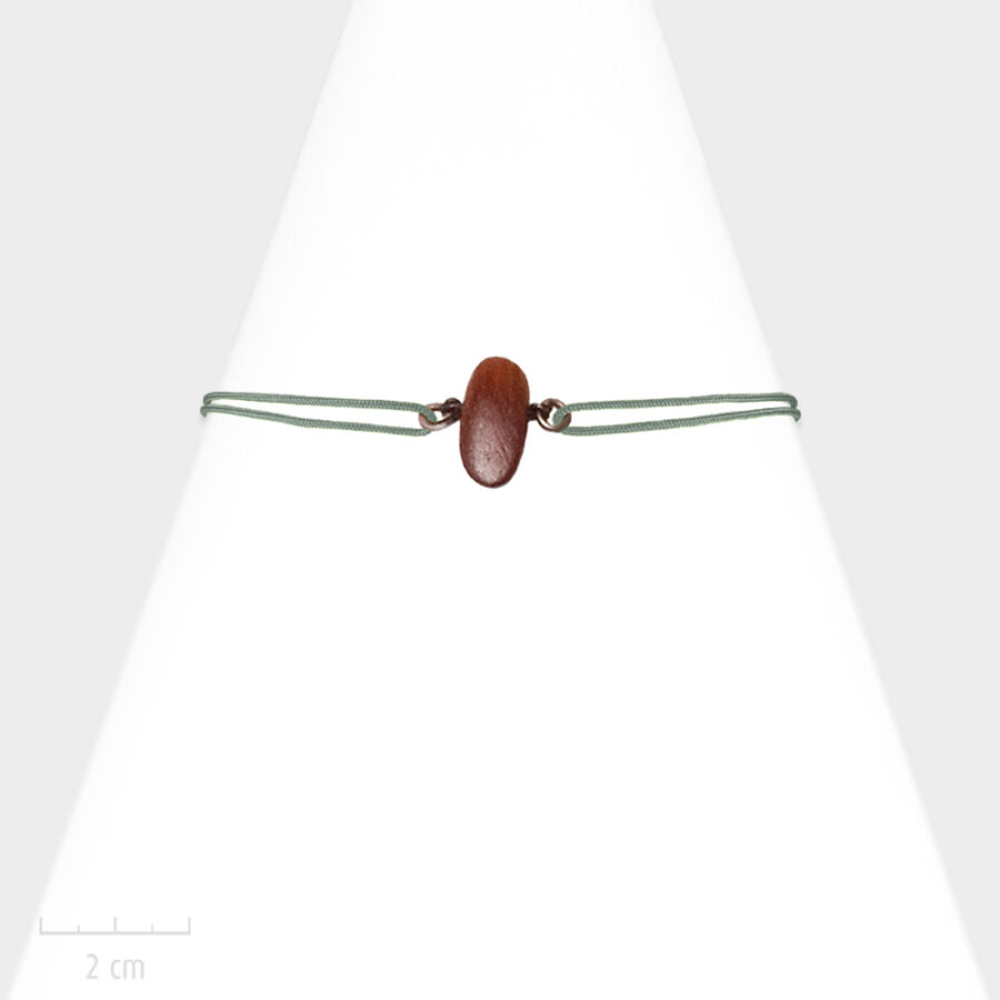 Bijou nature pour Enfant. Bracelet unisexe lacet réglable gris, cordon marin. Bois de couleur acajou, exotique et bronze. Atelier Zor Paris