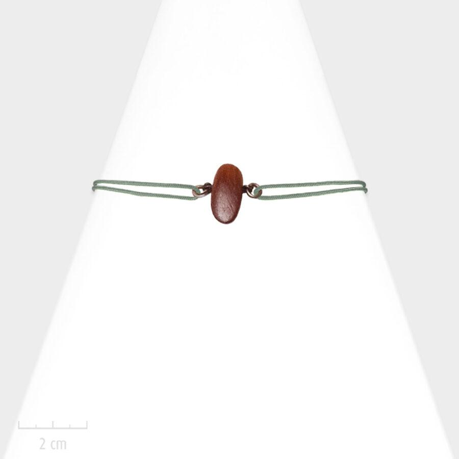 Bijou Homme nature. Bracelet masculin lacet marin, cordon réglable gris. Bois de couleur bordeaux acajou, exotique et bronze. Atelier Zor Paris