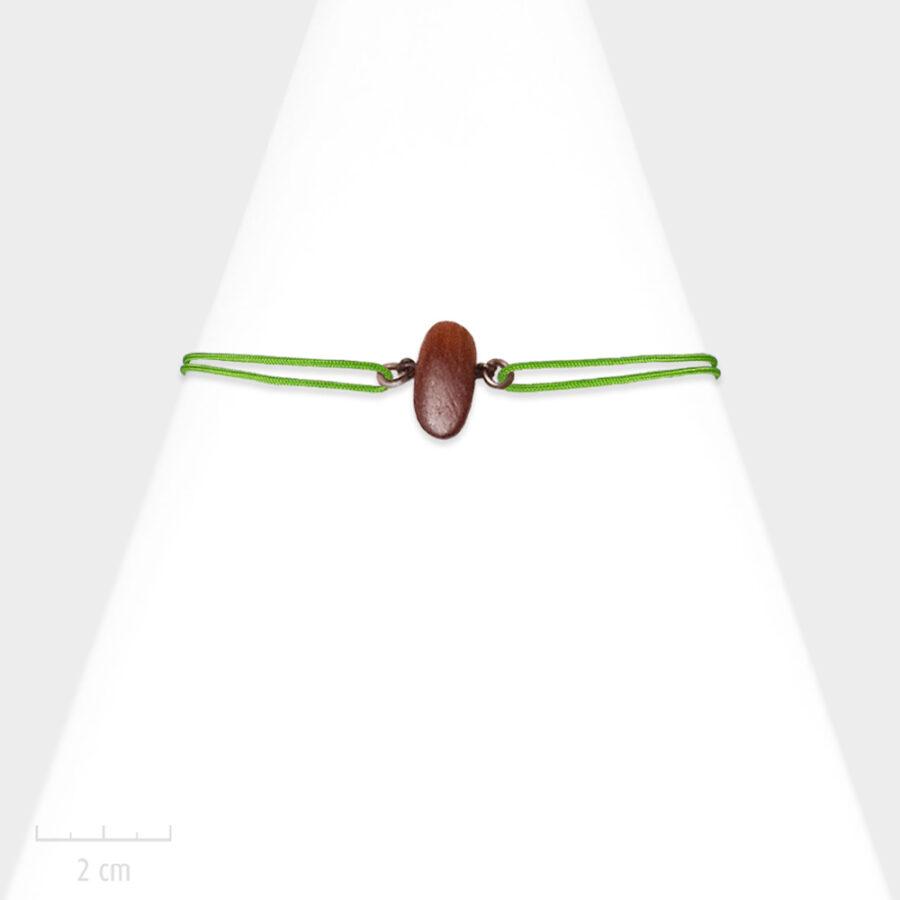 Bijou Homme nature. Bracelet masculin lacet marin, cordon réglable vert. Bois de couleur bordeaux acajou, exotique et bronze. Atelier Zor Paris