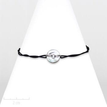 Bijou Homme moderne noir, argent, nacre nature et corde. Bracelet rond à lacet marin. Création Zor Paris