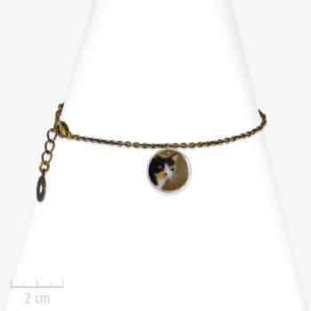 Bracelet Ludique à photo de chat. Pendentif animal, charm rond sur chaîne fine bronze. Création Sébicotane. Bijou Zor Paris