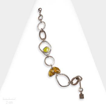 Bracelet moderne pour femmes. Bijou art cubiste, Picasso ou Dali? Chaîne à grand maillon et anneau argent. Création Zor Bijoux Paris