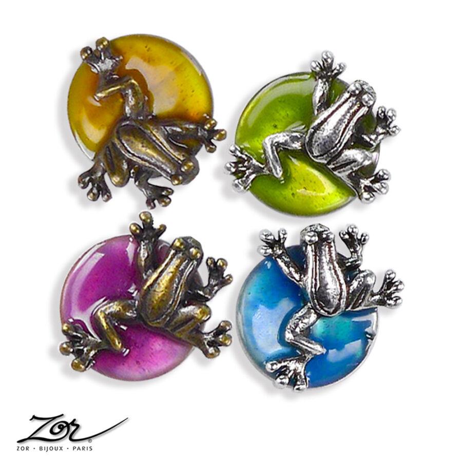 Boucle d'oreille Enfant grenouille kawaii! Nacre, rond couleur fuchsia, vert, turquoise, orange en bronze argent vintage. Zor Paris