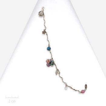 Bracelet Enfant, fleur trèfle à 4 feuilles sur chaîne Bijou kawaii bleu turquoise, parme rose. Création fantaisie, Zor Paris 1