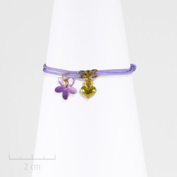 Bracelet Enfant, lacet parme et charm coeur d'or. Bijou symbole d'amitié, d'amour Fantaisie de fille, Création Sébicotane & Zor Paris 2