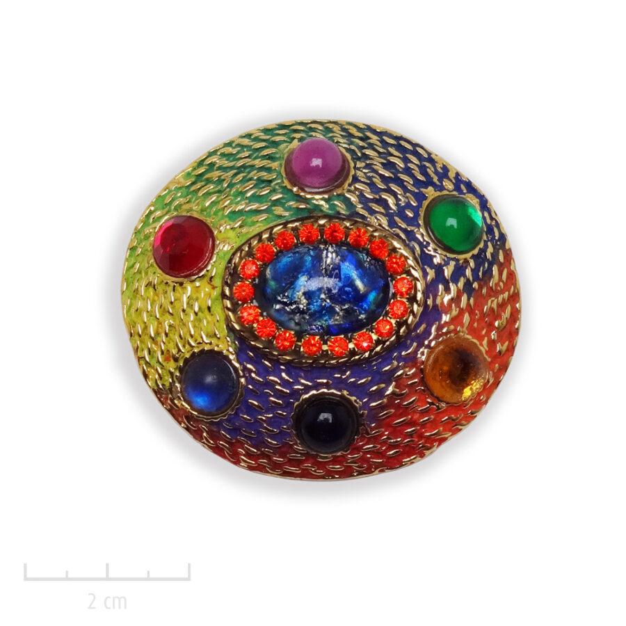 Broche Arlequin TRH, or ovale et multicolore. Bijou heroic fantaisie, Carnaval de Venise, bleu, vert, rouge, jaune, orange, violet, noir, Zor Paris 1