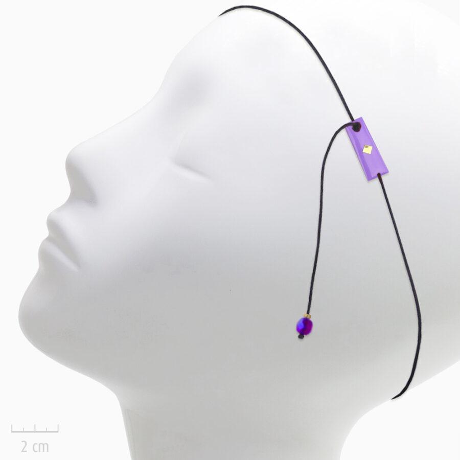 Accessoire pour cheveux: bijou de tête élastique et et pendant d'oreille. Plaque drapeau de l'Arlequin VIOLET en Fin bandeau fantaisie. TRH by Zor
