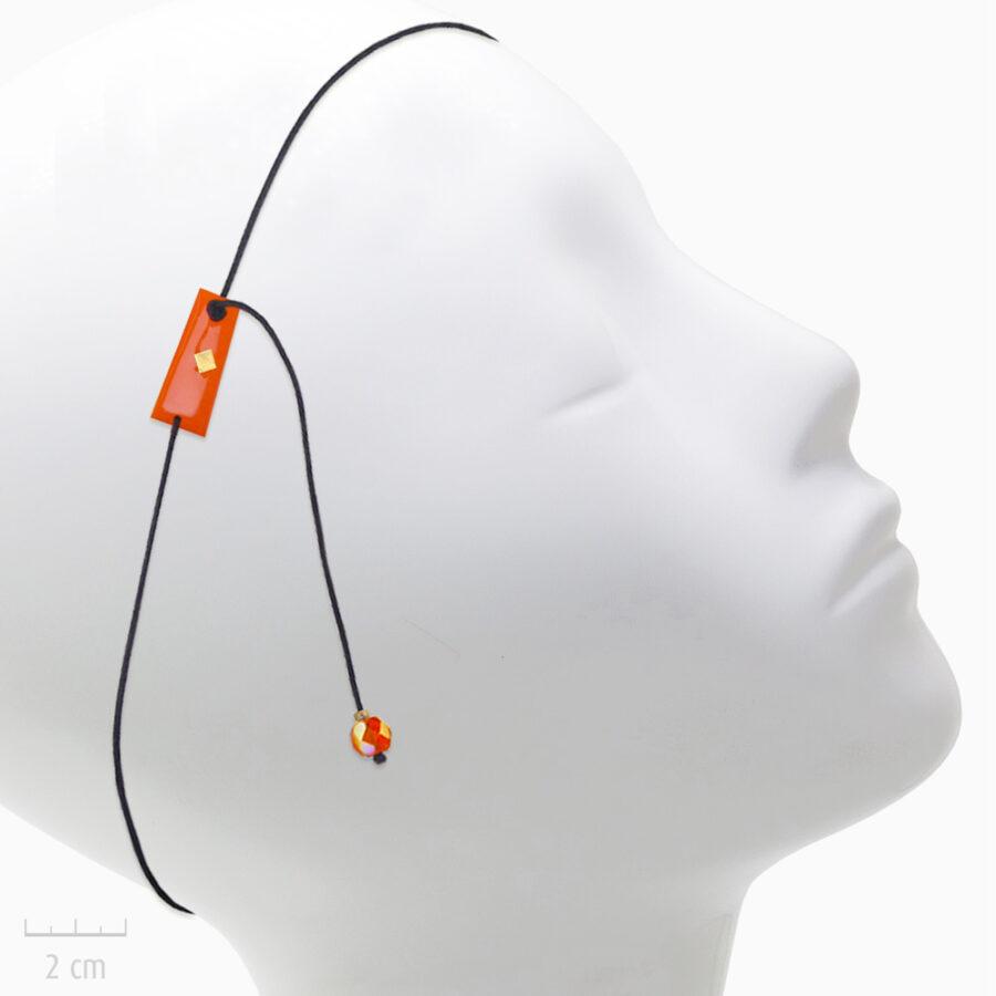 Accessoire Enfant pour cheveux: bijou de tête élastique et et pendant d'oreille. Plaque drapeau de l'Arlequin ORANGE en Fin bandeau fantaisie. TRH by Zor