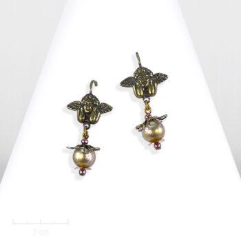 Boucle d'oreille enfant, figurine d'ange, cupidon. Art: Renaissance italienne, bijou inpiré du tableau de Raphël, la Madone Sixtine. Creation Zor Paris 1