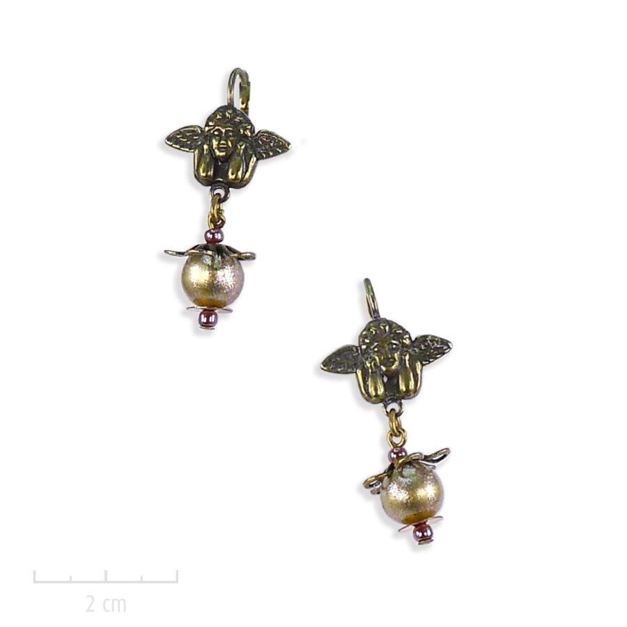 Boucle d'oreille enfant, figurine d'ange, cupidon. Art: Renaissance italienne, bijou inpiré du tableau de Raphël, la Madone Sixtine. Creation Zor Paris 2