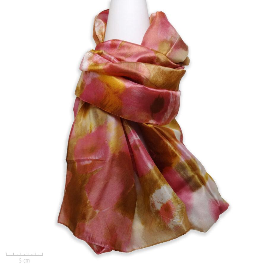 Grand foulard rectangle 100% soie. Étole, accessoire doux, peinture aquarelle, tableau de fleur rose, camel, Zor Paris 1