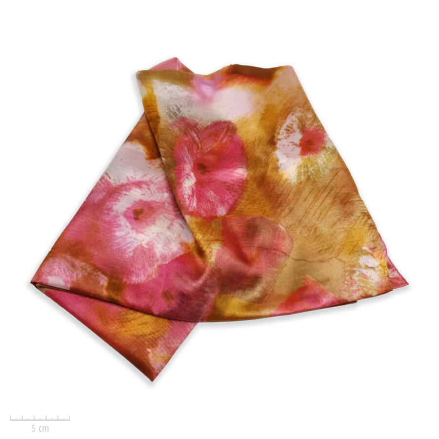 Grand foulard rectangle 100% soie. Étole, accessoire doux, peinture aquarelle, tableau de fleur rose, camel, Zor Paris 2