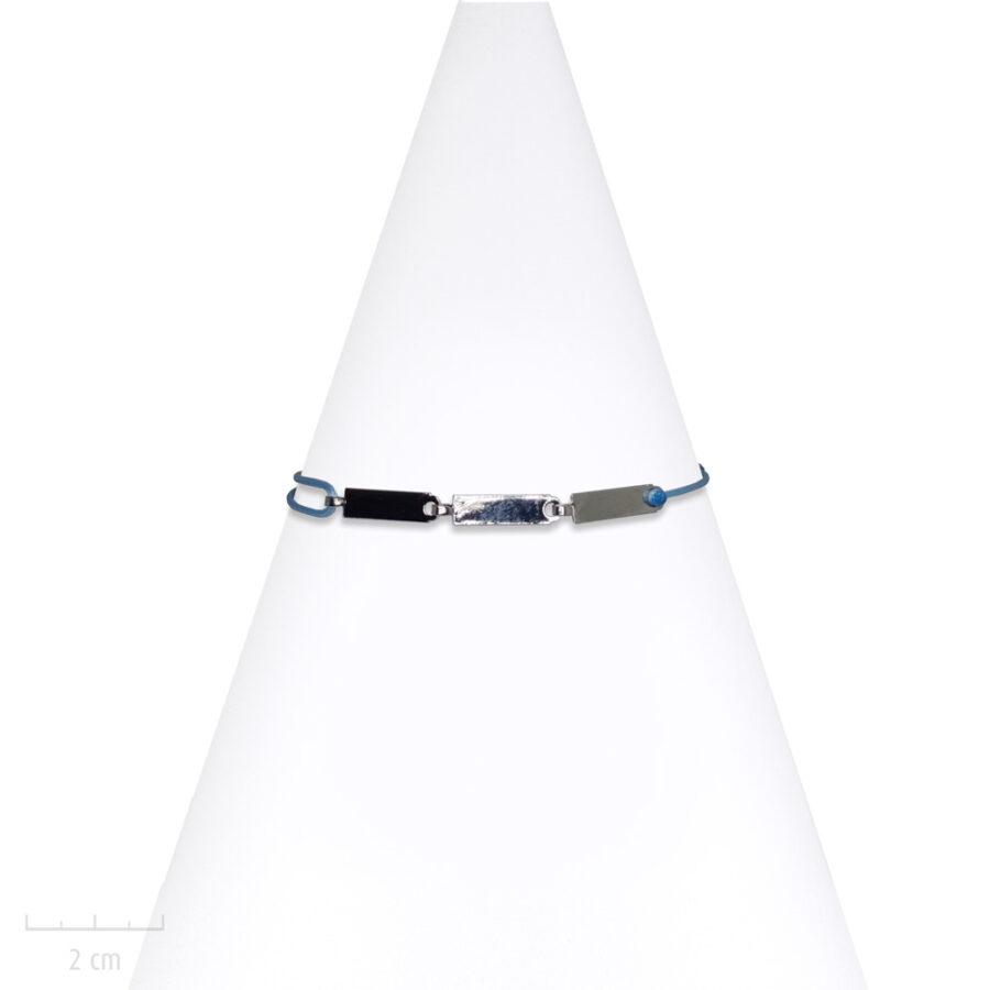 Bracelet Homme à cordon réglable bleu clair. Bijou moderne et masculin, plaque argent, Zor creation Paris