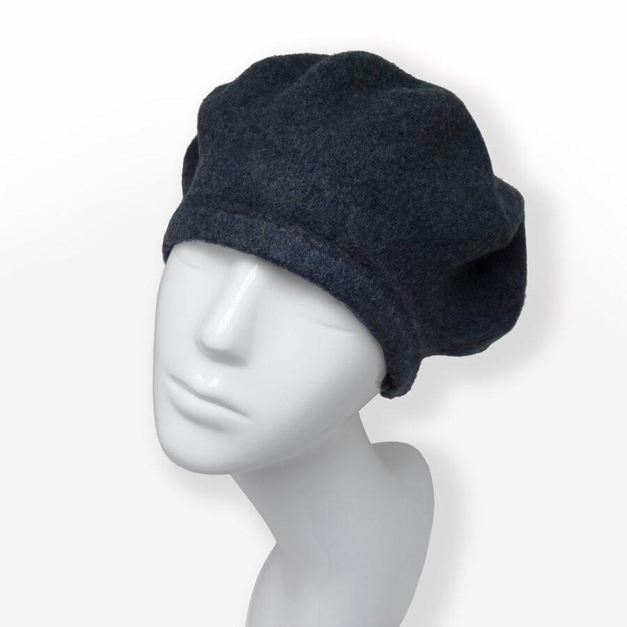 Accessoire: chapeau anthracite cloche, casquette ou béret 100% laine. Chiné gris foncé en boutique Zor Paris création Made in France