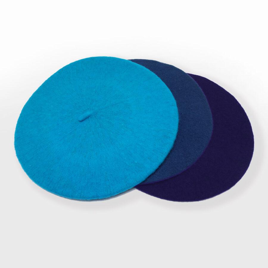 Chapeau: cloche, casquette ou béret 100% laine. Turquoise, bleu ou marine en boutique Zor Paris création Made in France