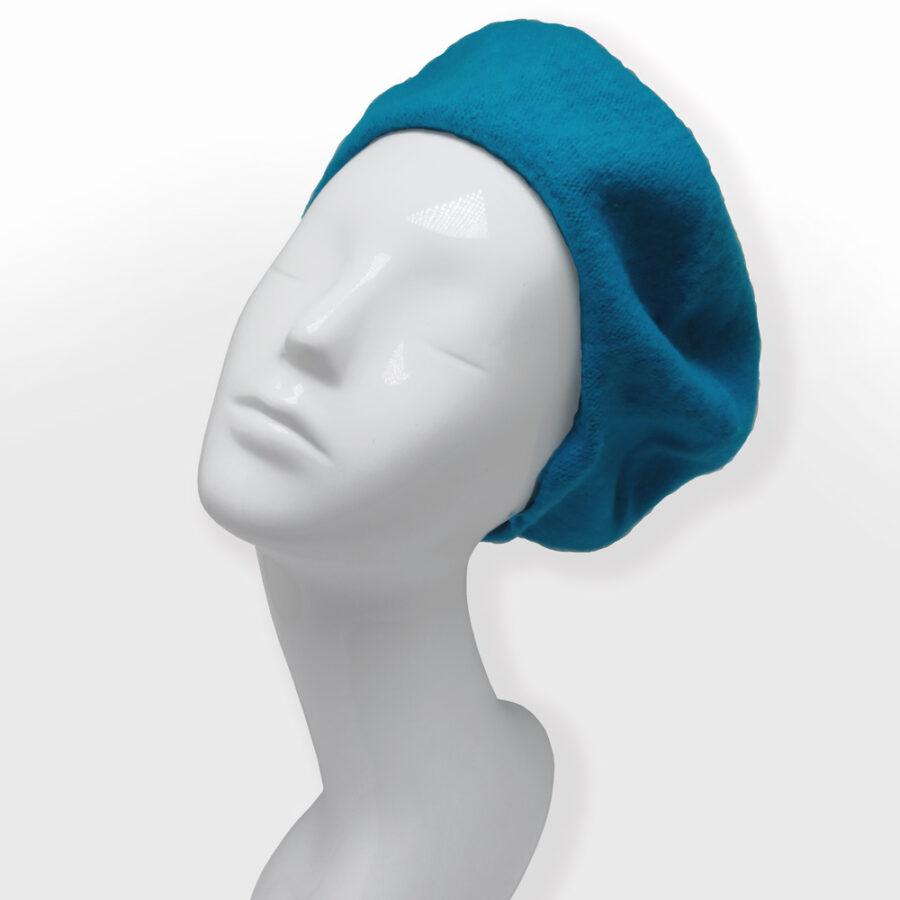 Chapeau: cloche, casquette ou béret 100% laine. Turquoise bleu en boutique Zor Paris création Made in France