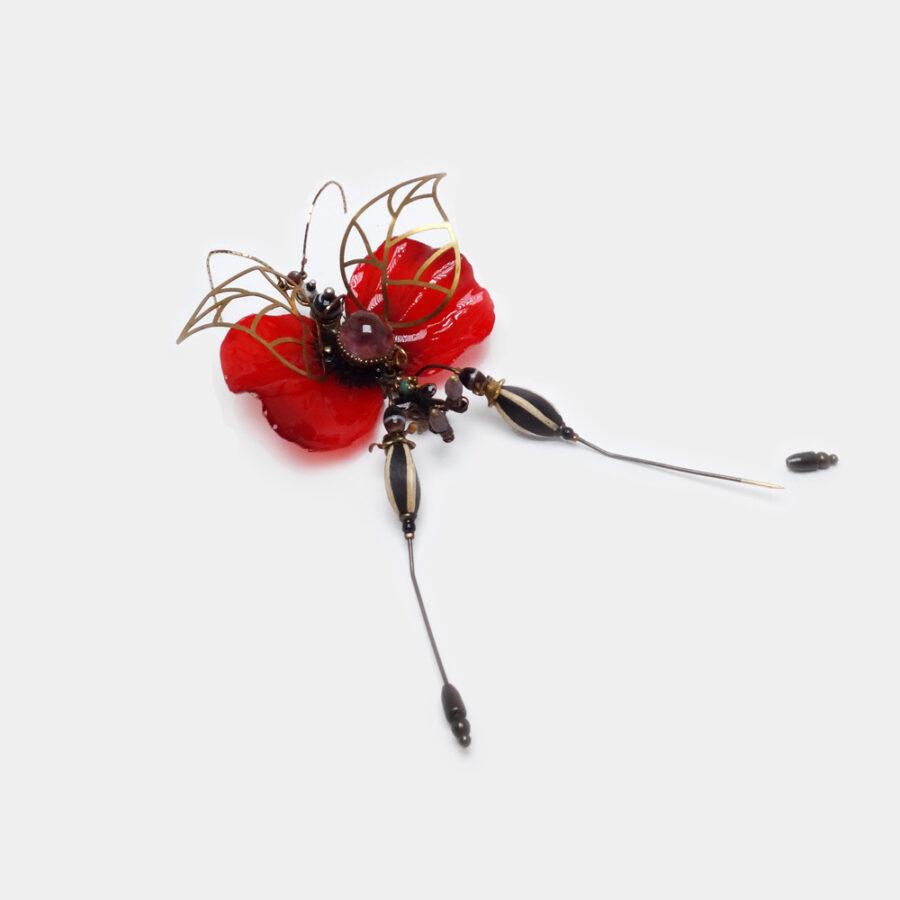 Bestiaire: insecte unique, phasme Piment d'eau. Bijoux précieux, chimère en pierre améthyste. Art & Création Zor Paris Aboukir