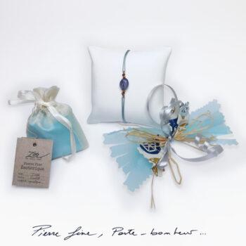 Bracelet Bohème bleu, pierre iolite sur cordon. Bijou femme à symbole porte-bonheur, précieux. Zor Paris 1
