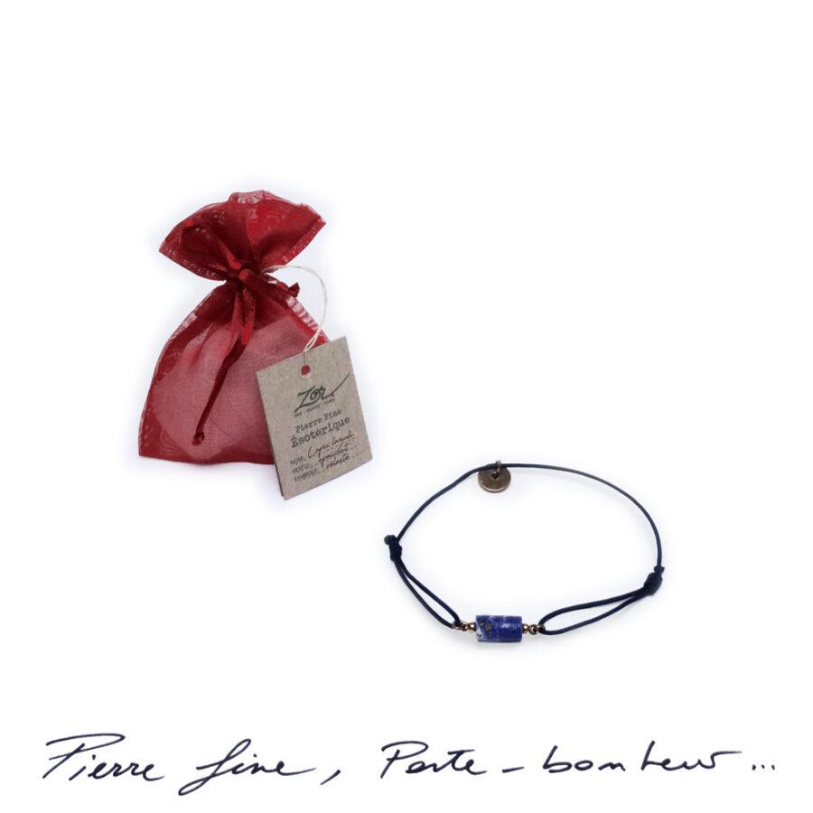 Bracelet Homme, pierre bleue céleste, lapis-lazuli sur cordon. Bijou masculin à symbole porte-bonheur, précieux. Zor Paris 1