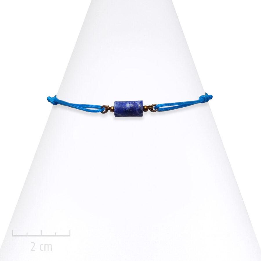 Bracelet Homme, pierre bleue céleste, lapis-lazuli sur cordon. Bijou masculin à symbole porte-bonheur, précieux. Zor Paris 2